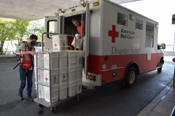 Red Cross Emergency Response Vehicle delivering supplies